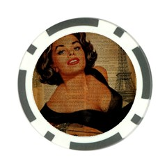 Vintage Newspaper Print Pin Up Girl Paris Eiffel Tower Poker Chip 10 Pack by chicelegantboutique