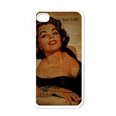 Vintage Newspaper Print Pin Up Girl Paris Eiffel Tower Apple Iphone 4 Case (white) by chicelegantboutique