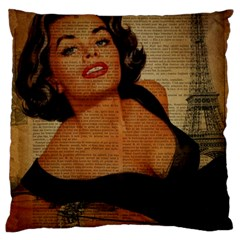 Vintage Newspaper Print Pin Up Girl Paris Eiffel Tower Large Cushion Case (two Sided)  by chicelegantboutique