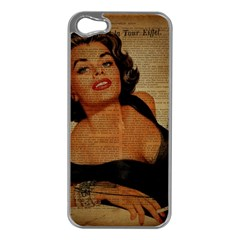 Vintage Newspaper Print Pin Up Girl Paris Eiffel Tower Apple Iphone 5 Case (silver) by chicelegantboutique