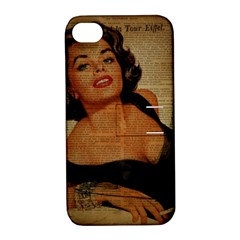 Vintage Newspaper Print Pin Up Girl Paris Eiffel Tower Apple Iphone 4/4s Hardshell Case With Stand by chicelegantboutique