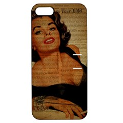 Vintage Newspaper Print Pin Up Girl Paris Eiffel Tower Apple Iphone 5 Hardshell Case With Stand by chicelegantboutique