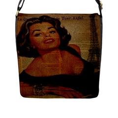 Vintage Newspaper Print Pin Up Girl Paris Eiffel Tower Flap Closure Messenger Bag (large) by chicelegantboutique