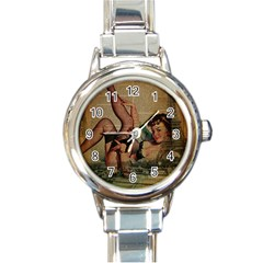 Vintage Newspaper Print Sexy Hot Pin Up Girl Paris Eiffel Tower Round Italian Charm Watch by chicelegantboutique