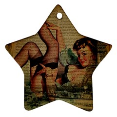 Vintage Newspaper Print Sexy Hot Pin Up Girl Paris Eiffel Tower Star Ornament by chicelegantboutique