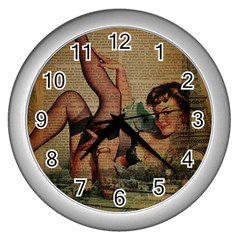 Vintage Newspaper Print Sexy Hot Pin Up Girl Paris Eiffel Tower Wall Clock (silver) by chicelegantboutique