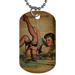 Vintage Newspaper Print Sexy Hot Pin Up Girl Paris Eiffel Tower Dog Tag (one Sided) by chicelegantboutique