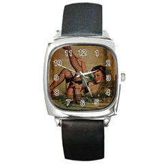 Vintage Newspaper Print Sexy Hot Pin Up Girl Paris Eiffel Tower Square Leather Watch by chicelegantboutique