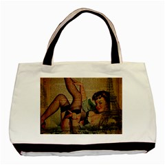 Vintage Newspaper Print Sexy Hot Pin Up Girl Paris Eiffel Tower Classic Tote Bag by chicelegantboutique