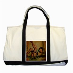 Vintage Newspaper Print Sexy Hot Pin Up Girl Paris Eiffel Tower Two Toned Tote Bag by chicelegantboutique