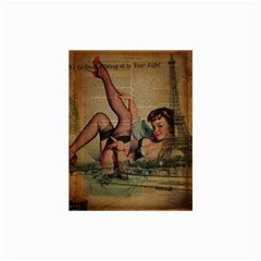 Vintage Newspaper Print Sexy Hot Pin Up Girl Paris Eiffel Tower Canvas 24  X 36  (unframed) by chicelegantboutique