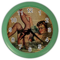 Vintage Newspaper Print Sexy Hot Pin Up Girl Paris Eiffel Tower Wall Clock (color) by chicelegantboutique