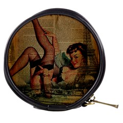 Vintage Newspaper Print Sexy Hot Pin Up Girl Paris Eiffel Tower Mini Makeup Case by chicelegantboutique