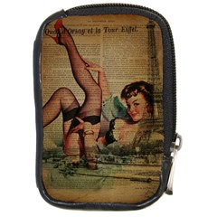 Vintage Newspaper Print Sexy Hot Pin Up Girl Paris Eiffel Tower Compact Camera Leather Case by chicelegantboutique