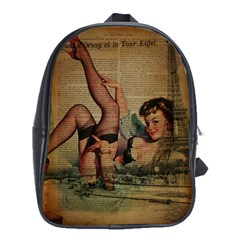 Vintage Newspaper Print Sexy Hot Pin Up Girl Paris Eiffel Tower School Bag (large) by chicelegantboutique