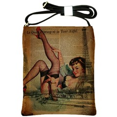 Vintage Newspaper Print Sexy Hot Pin Up Girl Paris Eiffel Tower Shoulder Sling Bag by chicelegantboutique