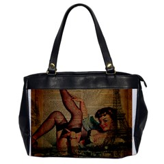 Vintage Newspaper Print Sexy Hot Pin Up Girl Paris Eiffel Tower Oversize Office Handbag (one Side) by chicelegantboutique