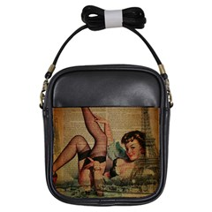 Vintage Newspaper Print Sexy Hot Pin Up Girl Paris Eiffel Tower Girl s Sling Bag by chicelegantboutique