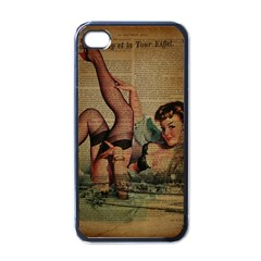Vintage Newspaper Print Sexy Hot Pin Up Girl Paris Eiffel Tower Apple Iphone 4 Case (black) by chicelegantboutique