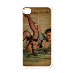 Vintage Newspaper Print Sexy Hot Pin Up Girl Paris Eiffel Tower Apple Iphone 4 Case (white) by chicelegantboutique