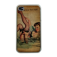 Vintage Newspaper Print Sexy Hot Pin Up Girl Paris Eiffel Tower Apple Iphone 4 Case (clear) by chicelegantboutique