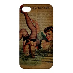 Vintage Newspaper Print Sexy Hot Pin Up Girl Paris Eiffel Tower Apple Iphone 4/4s Premium Hardshell Case by chicelegantboutique