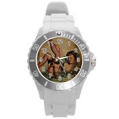 Vintage Newspaper Print Sexy Hot Pin Up Girl Paris Eiffel Tower Plastic Sport Watch (large)