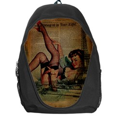Vintage Newspaper Print Sexy Hot Pin Up Girl Paris Eiffel Tower Backpack Bag by chicelegantboutique