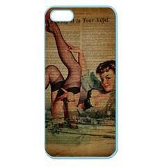 Vintage Newspaper Print Sexy Hot Pin Up Girl Paris Eiffel Tower Apple Seamless Iphone 5 Case (color) by chicelegantboutique