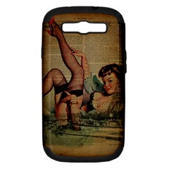 Vintage Newspaper Print Sexy Hot Pin Up Girl Paris Eiffel Tower Samsung Galaxy S Iii Hardshell Case (pc+silicone) by chicelegantboutique