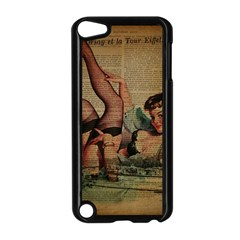 Vintage Newspaper Print Sexy Hot Pin Up Girl Paris Eiffel Tower Apple Ipod Touch 5 Case (black) by chicelegantboutique