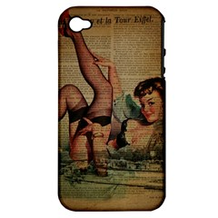 Vintage Newspaper Print Sexy Hot Pin Up Girl Paris Eiffel Tower Apple Iphone 4/4s Hardshell Case (pc+silicone) by chicelegantboutique