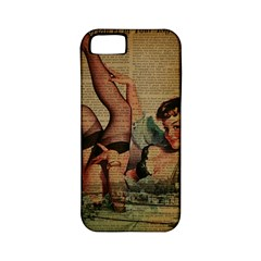 Vintage Newspaper Print Sexy Hot Pin Up Girl Paris Eiffel Tower Apple Iphone 5 Classic Hardshell Case (pc+silicone)