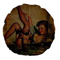 Vintage Newspaper Print Sexy Hot Pin Up Girl Paris Eiffel Tower 18  Premium Round Cushion  by chicelegantboutique