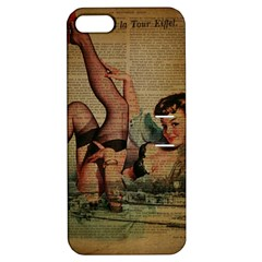 Vintage Newspaper Print Sexy Hot Pin Up Girl Paris Eiffel Tower Apple Iphone 5 Hardshell Case With Stand by chicelegantboutique