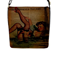 Vintage Newspaper Print Sexy Hot Pin Up Girl Paris Eiffel Tower Flap Closure Messenger Bag (large) by chicelegantboutique