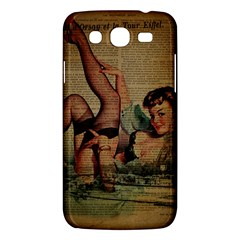 Vintage Newspaper Print Sexy Hot Pin Up Girl Paris Eiffel Tower Samsung Galaxy Mega 5 8 I9152 Hardshell Case