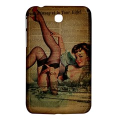 Vintage Newspaper Print Sexy Hot Pin Up Girl Paris Eiffel Tower Samsung Galaxy Tab 3 (7 ) P3200 Hardshell Case  by chicelegantboutique