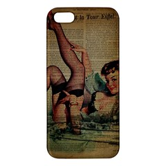 Vintage Newspaper Print Sexy Hot Pin Up Girl Paris Eiffel Tower iPhone 5S Premium Hardshell Case by chicelegantboutique
