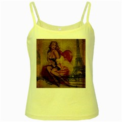 Vintage Newspaper Print Sexy Hot Gil Elvgren Pin Up Girl Paris Eiffel Tower Yellow Spaghetti Tank by chicelegantboutique