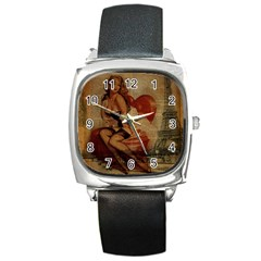 Vintage Newspaper Print Sexy Hot Gil Elvgren Pin Up Girl Paris Eiffel Tower Square Leather Watch