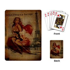 Vintage Newspaper Print Sexy Hot Gil Elvgren Pin Up Girl Paris Eiffel Tower Playing Cards Single Design by chicelegantboutique