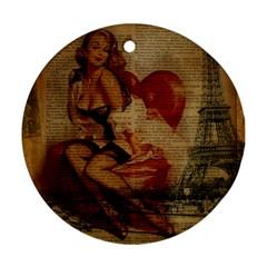 Vintage Newspaper Print Sexy Hot Gil Elvgren Pin Up Girl Paris Eiffel Tower Round Ornament (two Sides)