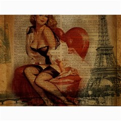 Vintage Newspaper Print Sexy Hot Gil Elvgren Pin Up Girl Paris Eiffel Tower Canvas 12  X 16  (unframed) by chicelegantboutique