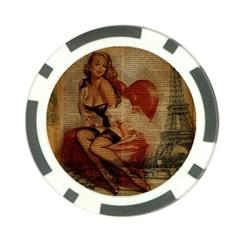 Vintage Newspaper Print Sexy Hot Gil Elvgren Pin Up Girl Paris Eiffel Tower Poker Chip by chicelegantboutique