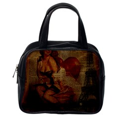 Vintage Newspaper Print Sexy Hot Gil Elvgren Pin Up Girl Paris Eiffel Tower Classic Handbag (one Side) by chicelegantboutique