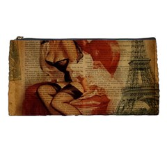 Vintage Newspaper Print Sexy Hot Gil Elvgren Pin Up Girl Paris Eiffel Tower Pencil Case by chicelegantboutique