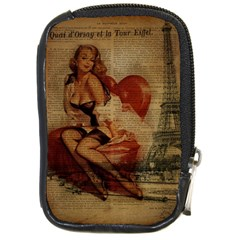 Vintage Newspaper Print Sexy Hot Gil Elvgren Pin Up Girl Paris Eiffel Tower Compact Camera Leather Case by chicelegantboutique