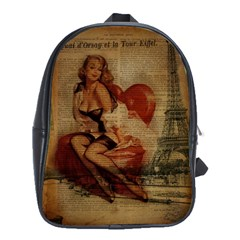 Vintage Newspaper Print Sexy Hot Gil Elvgren Pin Up Girl Paris Eiffel Tower School Bag (large) by chicelegantboutique