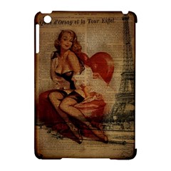 Vintage Newspaper Print Sexy Hot Gil Elvgren Pin Up Girl Paris Eiffel Tower Apple Ipad Mini Hardshell Case (compatible With Smart Cover) by chicelegantboutique